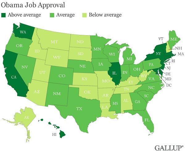 obamaapprovalmap President 2012: The Key Battleground States for the 2012 Presidential Race